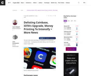 Delisting Coinbase, IOTA's Upgrade, Money Printing To Intensify + More News