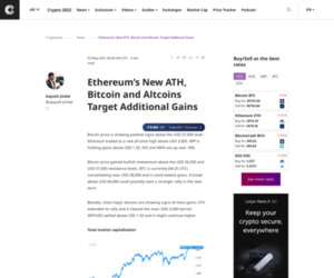 Ethereum's New ATH, Bitcoin and Altcoins Target Additional Gains