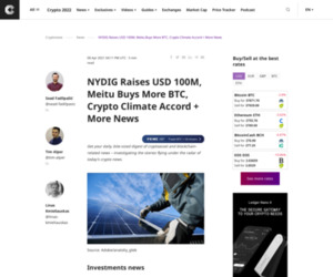 NYDIG Raises USD 100M, Meitu Buys More BTC, Crypto Climate Accord + More News
