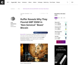 Ruffer Reveals Why They Poured GBP 550M in 'Non-Sensical' 'Beast' Bitcoin