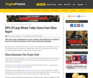 90% Of Large Bitcoin Trades Comes From China: Report