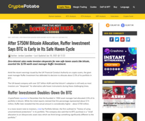 After $750M Bitcoin Allocation, Ruffer Investment Says BTC is Early in Its Safe Haven Cycle