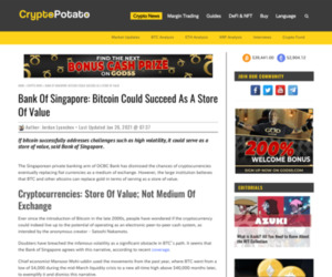 Bank Of Singapore: Bitcoin Could Succeed As A Store Of Value