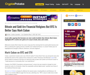 Bitcoin and Gold Are Financial Religions But BTC Is Better Says Mark Cuban
