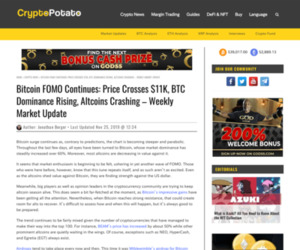 Bitcoin FOMO Continues: Price Crosses $11K, BTC Dominance Rising, Altcoins Crashing - Weekly Market Update