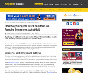 Bloomberg Startegists Bullish on Bitcoin in a Favorable Comparison Against Gold