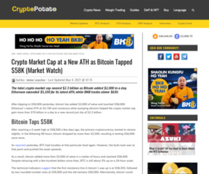 Crypto Market Cap at a New ATH as Bitcoin Tapped $58K (Market Watch)