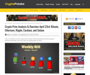 Crypto Price Analysis & Overview April 23rd: Bitcoin, Ethereum, Ripple, Cardano, and Solana