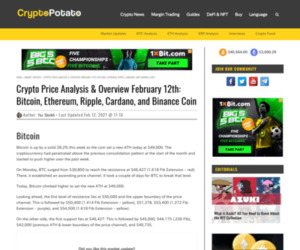 Crypto Price Analysis & Overview February 12th: Bitcoin, Ethereum, Ripple, Cardano, and Binance Coin