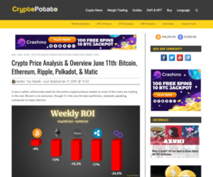 Crypto Price Analysis & Overview June 11th: Bitcoin, Ethereum, Ripple, Polkadot, & Matic