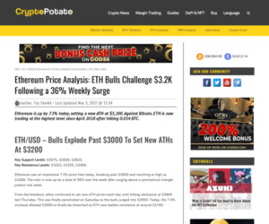 Ethereum Price Analysis: ETH Bulls Challenge $3.2K Following a 36% Weekly Surge
