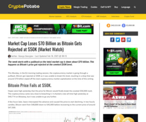 Market Cap Loses $70 Billion as Bitcoin Gets Rejected at $50K (Market Watch)