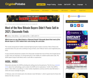 Most of the New Bitcoin Buyers Didn't Panic Sell in 2021, Glassnode Finds