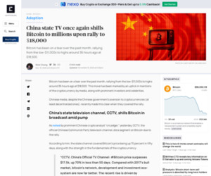 China state TV once again shills Bitcoin to millions upon rally to $18,000 | CryptoSlate