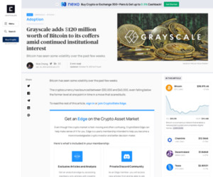 Grayscale adds $120 million worth of Bitcoin to its coffers amid continued institutional interest | CryptoSlate