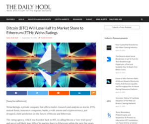 Bitcoin (BTC) Will Lose Half Its Market Share to Ethereum (ETH): Weiss Ratings | The Daily Hodl