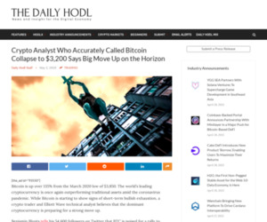 Crypto Analyst Who Accurately Called Bitcoin Collapse to $3,200 Says Big Move Up on the Horizon | The Daily Hodl