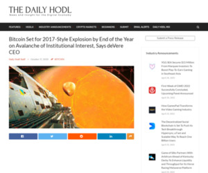 Bitcoin Set for 2017-Style Explosion by End of the Year on Avalanche of Institutional Interest, Says deVere CEO | The Daily Hodl