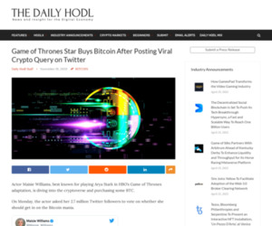 Game of Thrones Star Buys Bitcoin After Posting Viral Crypto Query on Twitter | The Daily Hodl