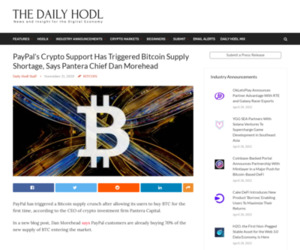 PayPal's Crypto Support Has Triggered Bitcoin Supply Shortage, Says Pantera Chief Dan Morehead | The Daily Hodl