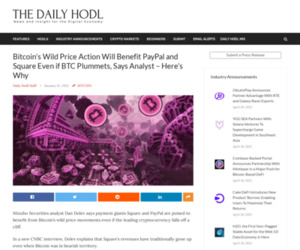 Bitcoin's Wild Price Action Will Benefit PayPal and Square Even if BTC Plummets, Says Analyst – Here's Why   The Daily Hodl