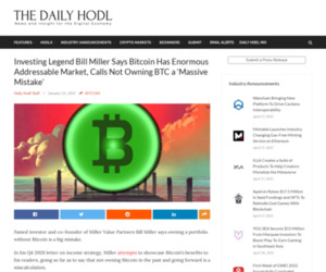 Investing Legend Bill Miller Says Bitcoin Has Enormous Addressable Market, Calls Not Owning BTC a 'Massive Mistake'   The Daily Hodl