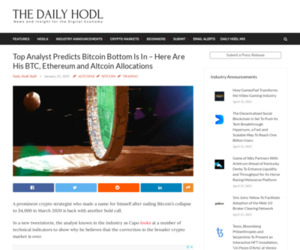 Top Analyst Predicts Bitcoin Bottom Is In – Here Are His BTC, Ethereum and Altcoin Allocations | The Daily Hodl