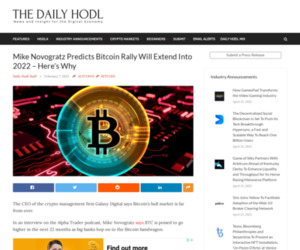 Mike Novogratz Predicts Bitcoin Rally Will Extend Into 2022 – Here's Why | The Daily Hodl