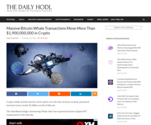 Massive Bitcoin Whale Transactions Move More Than $1,900,000,000 in Crypto | The Daily Hodl