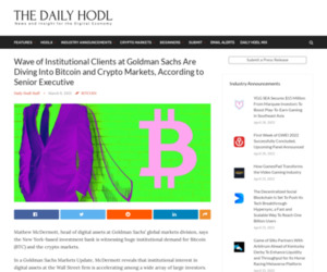 Wave of Institutional Clients at Goldman Sachs Are Diving Into Bitcoin and Crypto Markets, According to Senior Executive | The Daily Hodl