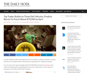 Top Trader Bullish on Three DeFi Altcoins, Predicts Bitcoin To Punch Above $70,000 by April | The Daily Hodl