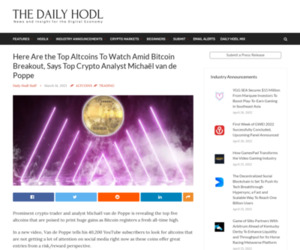 Here Are the Top Altcoins To Watch Amid Bitcoin Breakout, Says Top Crypto Analyst Michaël van de Poppe | The Daily Hodl