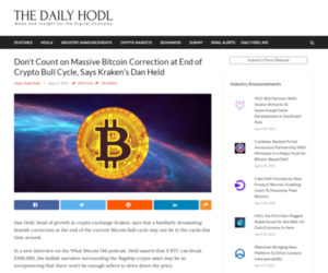 Don't Count on Massive Bitcoin Correction at End of Crypto Bull Cycle, Says Kraken's Dan Held | The Daily Hodl