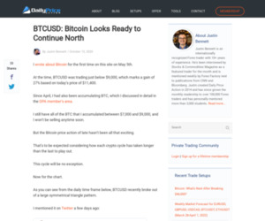 BTCUSD: Bitcoin Looks Ready to Continue North - Daily Price Action
