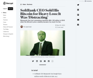 SoftBank CEO Sold His Bitcoin for Heavy Loss: It Was 'Distracting' - Decrypt