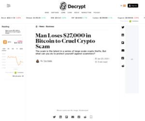 Man Loses $27,000 in Bitcoin to Cruel Crypto Scam - Decrypt