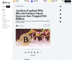 Analysts Explain Why Bitcoin Futures Open Interest Just Topped $14 Billion - Decrypt