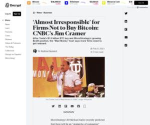 'Almost Irresponsible' for Firms Not to Buy Bitcoin: CNBC's Jim Cramer - Decrypt