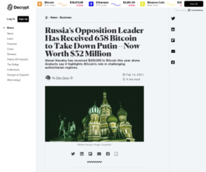 Russia's Opposition Leader Has Received 658 Bitcoin to Take Down Putin—Now Worth $32 Million - Decrypt