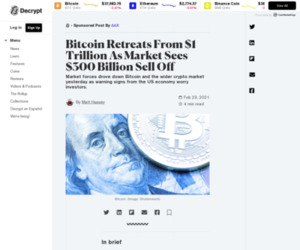 Bitcoin Retreats From $1 Trillion As Market Sees $300 Billion Sell Off - Decrypt