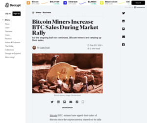 Bitcoin Miners Increase BTC Sales During Market Rally - Decrypt