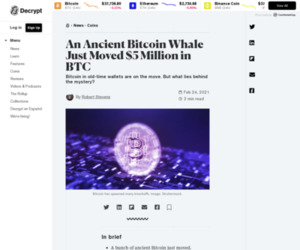 An Ancient Bitcoin Whale Just Moved $5 Million in BTC - Decrypt