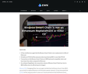 Binance Smart Chain is not an Ethereum Replacement or Killer - CZ - Ethereum World News