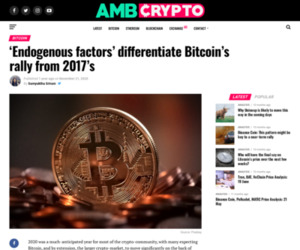 'Endogenous factors' differentiate Bitcoin's rally from 2017's - AMBCrypto