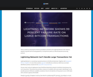 Lightning Network Unable to Process Large Bitcoin Transactions