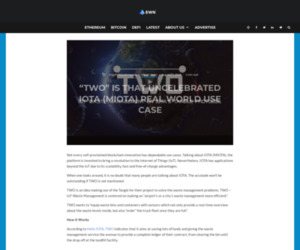 """""""TWO"""" Is That Uncelebrated IOTA (MIOTA) Real World Use Case - Ethereum World News"""