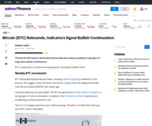 Bitcoin (BTC) Rebounds, Indicators Signal Bullish Continuation