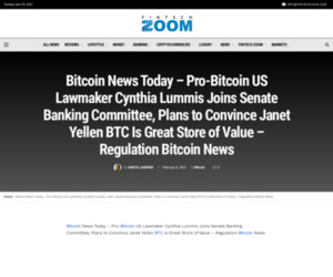 Bitcoin News Today - Pro-Bitcoin US Lawmaker Cynthia Lummis Joins Senate Banking Committee, Plans to Convince Janet Yellen BTC Is Great Store of Value – Regulation Bitcoin News | Fintech Zoom - World Finance