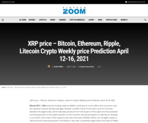 XRP price - Bitcoin, Ethereum, Ripple, Litecoin Crypto Weekly price Prediction April 12-16, 2021 | Fintech Zoom - World Finance