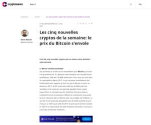 Les cinq nouvelles cryptos de la semaine: le prix du Bitcoin s'envole
